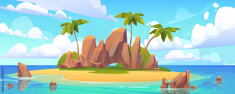 Fototapeta Island in ocean, uninhabited isle with beach, palm trees and rocks surrounded with sea water and cloudy sky above. Tropical landscape, empty land with sand and no people Cartoon vector illustration