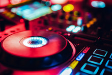 DJ Playing Music At Mixer Club. Closeup. Party.