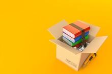Books Inside Cardboard Box