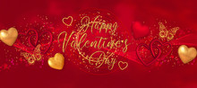 Valentine's Day Romantic Decoration, Red, Golden Heart, Gift Box Decorated With A Gold Bow, Tinsel, Electric Garland Illumination, Butterfly, 3D Rendering, Mixed Media