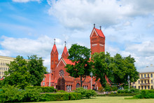 Catholic Chapel St. Simon And St. Elena. Red Church In Minsk, Belarus