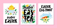 Set Of Spring And Easter Greeting Cards Or Posters With Cute Bird, Egg, Flowers, Signs And Lettering. Vector Illustration.