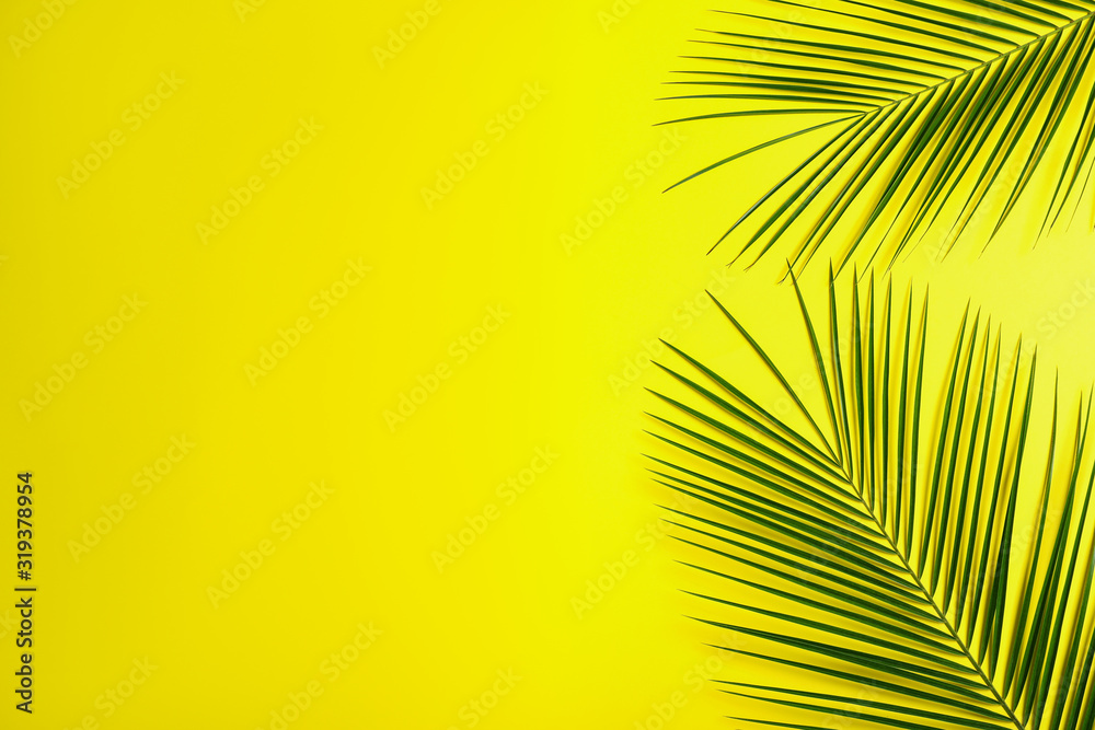 Fototapeta Beautiful lush tropical leaves on yellow background. Space for text