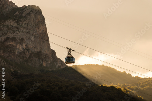 Fuente De, Spain. VIews of the cable car in Picos de Europa national park