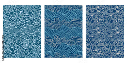 Tablou Canvas Japanese Swirl Sea Wave Abstract Vector Background Collection
