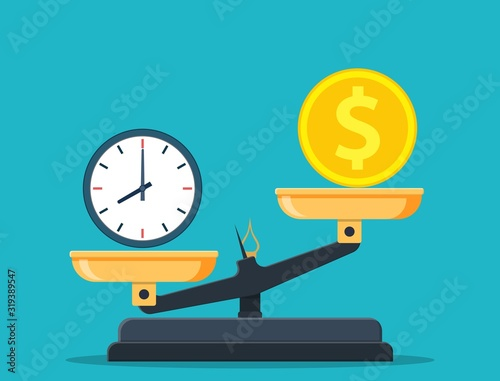 Time vs money on scales, disbalance. Time is money concept. Vector illustration in flat style.