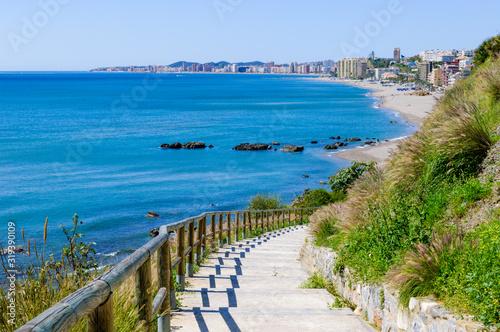 Carvajal Beach in Benalmadena, Malaga, Spain