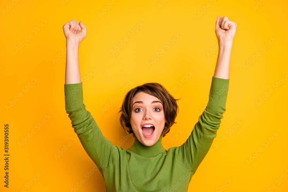 Fototapeta Close up photo of crazy funky sports fan girl celebrate football team victory raise fists scream yeah wear good look outfit isolated over vivid color background