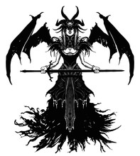 A Beautiful Demon Girl With Wings, A Mask Covering Her Eyes, Dressed In Many Different Trinkets And A Beautiful Dress With A Ragged Bottom, She Hovers In The Air Holding A Sword In Her Hands.