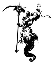 A Muscular Ghost In A Hood, With A Huge Scythe In His Right Hand, Hovers In The Air, Raising His Left Hand Up . 2D Illustration