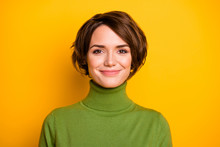 Closeup Photo Of Funny Short Hairdo Lady Charming Smiling Good Mood Positive Person Wear Casual Green Turtleneck Warm Sweater Isolated Yellow Color Background