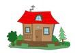 dom, wieś, dom marzeń, domek na wsi, obrazek, bajkowa chatka, chatka, bajki, rysunek, weranda, taras, las, sad, kwiaty