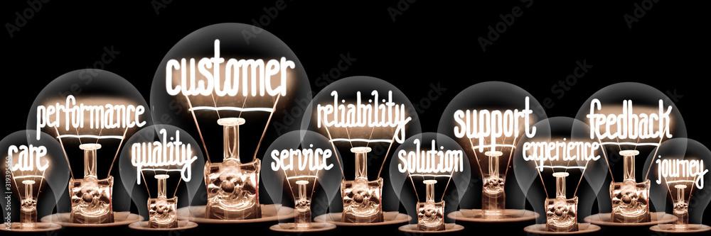 Fototapeta Light Bulbs with Customer Concept