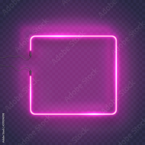 Neon rectangle lamp wall sign isolated on transparent background. Vector pink power glowing bulb banner, light square frame.. Wall mural