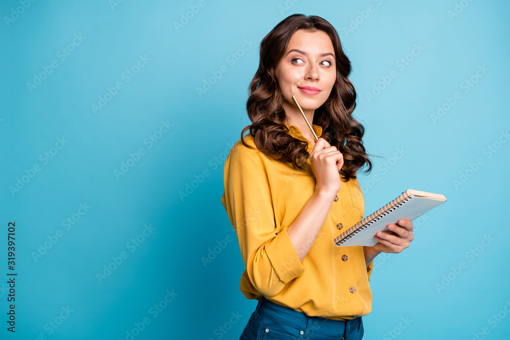 Fototapeta Profile side view portrait of her she nice attractive lovely cheerful curious wavy-haired girl creating notes love story isolated on bight vivid shine vibrant green blue turquoise color background
