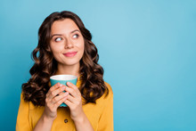 Close-up Portrait Of Her She Nice Attractive Cheery Dreamy Curious Feminine Wavy-haired Girl Holding In Hands Drinking Latte Isolated On Bight Vivid Shine Vibrant Green Blue Turquoise Color Background