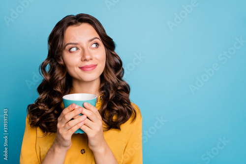 Fototapeta Close-up portrait of her she nice attractive cheery dreamy curious feminine wavy-haired girl holding in hands drinking latte isolated on bight vivid shine vibrant green blue turquoise color background obraz