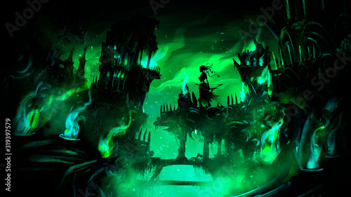 Photo Necropolis, the city of the dead with many destroyed buildings, towers , bridges, covered with a mystical green flame, in the center of the composition hovers the Ghost of a woman with a bow