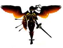 A Black Angel With Yellow Fier...