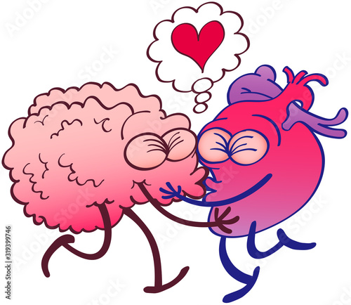 Photo Odd couple composed by a brain and a heart having an exciting romantic encounter