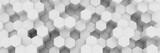 Fototapeta Abstract - White wall of honeycombs. Chaotic Cubes Wall Background. Panorama with high resolution wallpaper. 3d Render Illustration