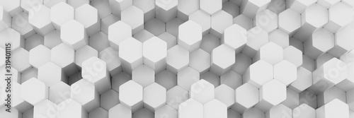 White wall of honeycombs. Chaotic Cubes Wall Background. Panorama with high resolution wallpaper. 3d Render Illustration - 319401115