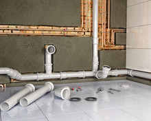 Process Of Changing Pipes In Bathroom Interior, 3d Illustration