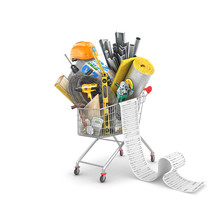Shopping  Trolley And Receipt  With Heap Of Building Materials, 3d Illustration