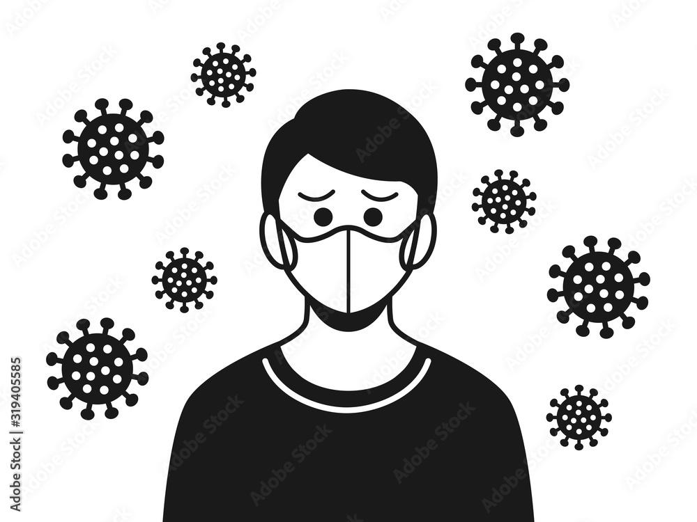 Fototapeta ウイルス感染した男性のイラスト
