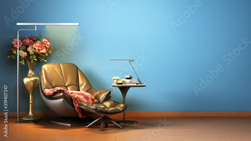 simple room interior render with leather armchair in darck style colors 3d rende Wallpaper Mural
