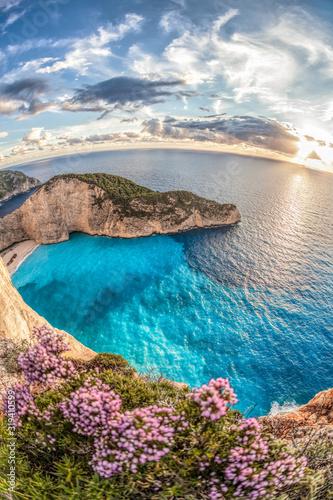 Fototapeta Navagio beach with shipwreck on Zakynthos island, Greece obraz na płótnie