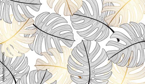 tropikalny-lisc-wzoru-tlo-zlocista-tekstura-z-zlocistymi-monstera-tropikalnymi-liscmi-wektorowymi
