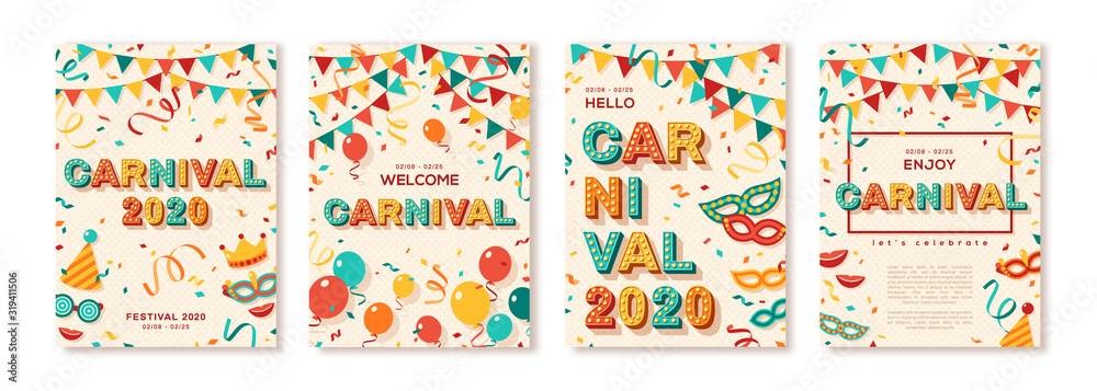 Fototapeta Set of 2020 Carnival cards or banners with typography design. Vector illustration with retro light bulbs font, streamers, confetti and hanging flag garlands. Place for text