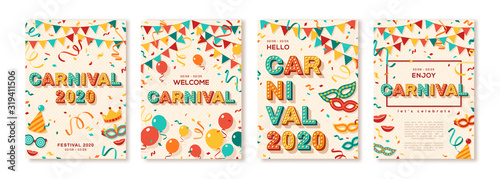 Set of 2020 Carnival cards or banners with typography design. Vector illustration with retro light bulbs font, streamers, confetti and hanging flag garlands. Place for text - 319411506