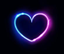 Neon Heart Sign Or Frame. Happ...