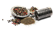 Peppercorns In Embroidered, Embossed Decorative Pot, Bowl With Silver Mill Isolated On White Background