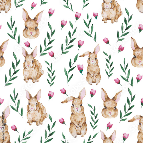 Easter rabbits ,botanical , animal watercolor , raster seamless pattern on white background . Concept for print, wallpaper, wrapping paper, cards