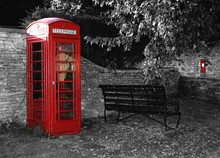 English Red Telephone Box B/w ...