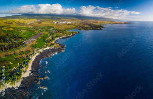 Fotografiet Aerial panorama of the western coastline of the Big Island, Hawaii