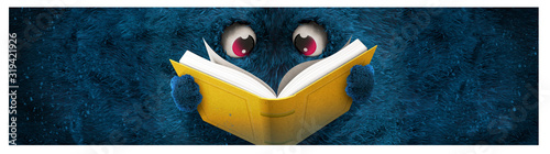 blue hairy monster reading a book
