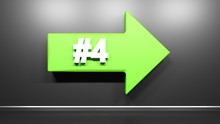 Number Four Green Arrow At Black Background - 3D Rendering Illustration