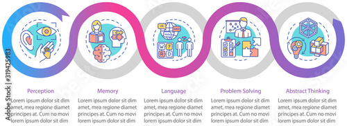 Obraz Cognitive processes vector infographic template. Mental health presentation design elements. Perception. Data visualization with five steps. Process timeline chart. Workflow layout with linear icons - fototapety do salonu