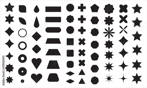 Vector basic shape collection for your design. Polygonal elements with sharp and rounded edges - 319426951