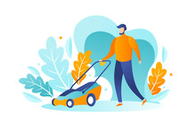 A Male Bearded Gardener Mows The Grass With A Lawn Mower. Vector Illustration, Design Concept For Yard Care And Lawn Mowing Services. Trendy Flat Character Style. A Man Trimming The Lawn And Grass.
