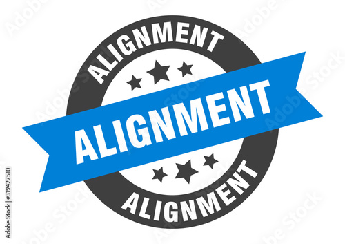 Photo alignment sign. alignment round ribbon sticker. alignment tag