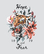 typography slogan with tiger and rose illustration. ethnic flowers vector illustration. Traditional folk fashion ornament on black background