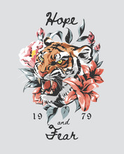 Typography Slogan With Tiger A...