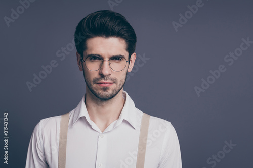Fototapeta Close-up portrait of his he nice attractive professional skilled smart clever intelligent serious brunette guy IT specialist expert isolated over grey violet purple pastel color background obraz