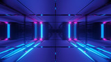 Fototapeta Scene - 3d illustration background with futuristic scifi high contrast glass tunnel, 3d rendering wallpaper with dark sci-fi tunnel corridor