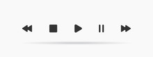Media Player Icon Set In Trend...